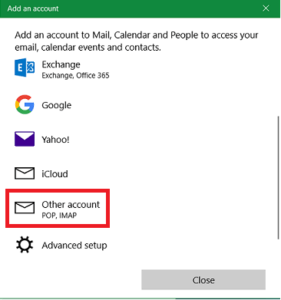 Custom Email Setup - Selecting Account Type