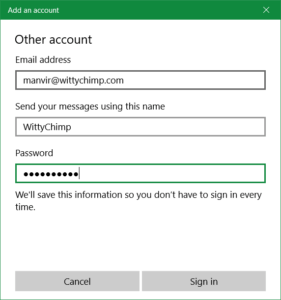 Custom Mail Setup - Mail Login Settings